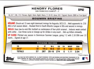 2014 Bowman Prospects Kendry Flores back