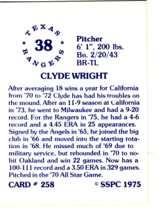 1976 SSPC #258 Clyde Wright back