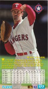 1994 Fleer Extra Bases Will Clark Back