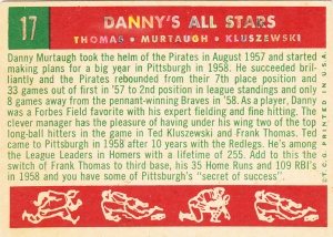 1959 Topps Danny's All-Stars back