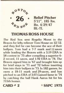 1976 SSPC #2 Tom House back