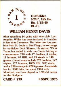 1976 SSPC #279 Willie Davis back