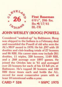 1976 SSPC #524 Boog Powell back
