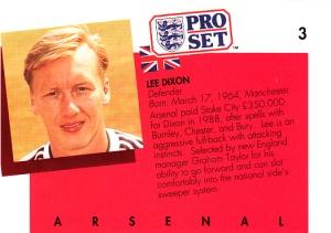 1990-91 Pro Set FA Lee Dixon back