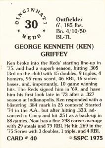 1976 SSPC #40 Ken Griffey back