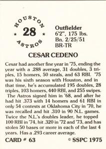 1976 SSPC #63 Cesar Cedeno back