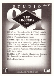 1991 Studio Preview Ted Higuera back
