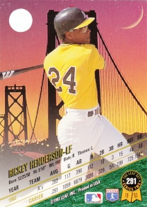 1993 Leaf Rickey Henderson back