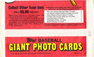 1981 Topps 5x7 Mets-Yankees Wrapper back