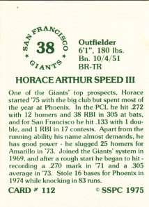 1976 SSPC #112 Horace Speed back