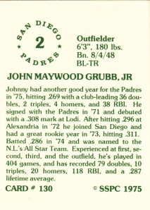 1976 SSPC #130 Johnny Grubb back