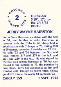 1976 SSPC #153 Jerry Hairston back