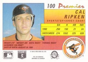 1991 OPC Premier Cal Ripken back