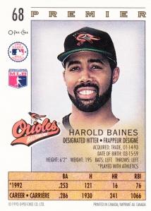 1993 OPC Premier Harold Baines back