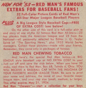 1953 Red Man Bob Lemon Back