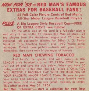 1953 Red Man Bob Lemon Back