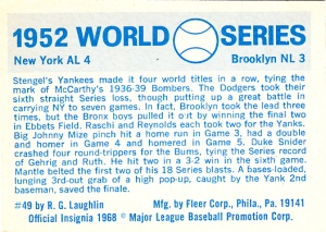 1970 Fleer World Series 49 Back