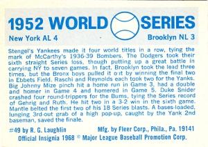 1970 Fleer World Series 49 Back