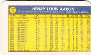 1970 Topps Super Aaron back