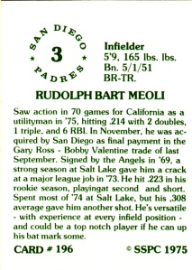 1976 SSPC #196 Rudy Meoli back