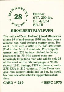 1976 SSPC #219 Bert Blyleven back