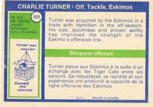 1972 OPC CFL Charlie Turner back