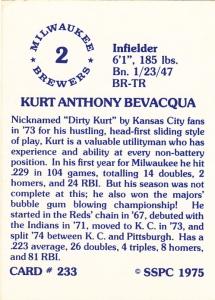 1976 SSPC #233 Kurt Bevacqua back