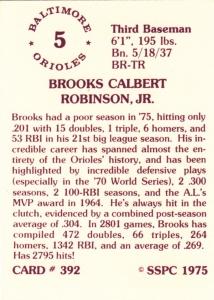 1976 SSPC #392 Brooks Robinson back