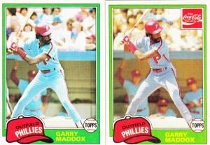 1981 Topps and Coke Garry Maddox