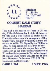 1976 SSPC #264 Toby Harrah back