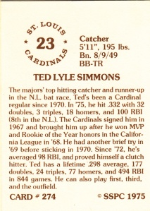 1976 SSPC #274 Ted Simmons back