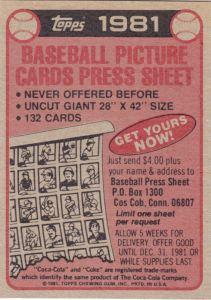 1981 Coca-Cola Mets Header Card back
