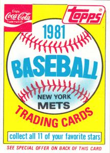 1981 Coca-Cola Mets Header Card front