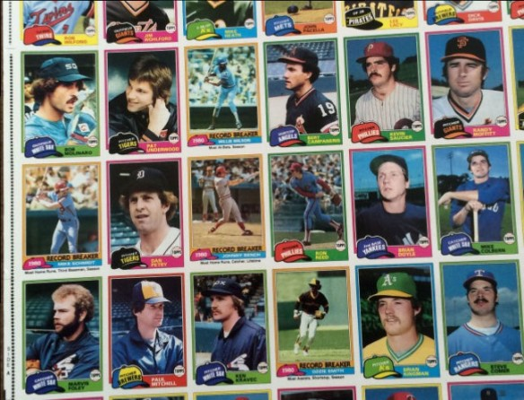 1981 Topps Sheet detail with Recordbreakers