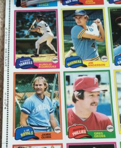 1981 Topps Sheet - left side detail