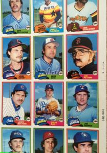 1981 Topps Sheet - right side detail