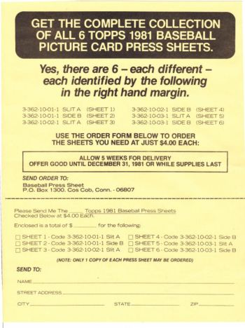 1981 Topps Uncut Sheet offer page