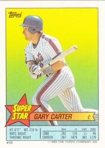 1989 Topps Sticker back Gary Carter