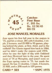 1976 SSPC #323 Jose Morales back