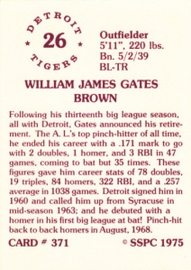 1976 SSPC #371 Gates Brown back