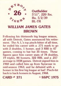 1976 SSPC #371 Gates Brown back