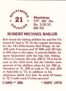 1976 SSPC #386 Bob Bailor back