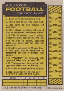 1975 Topps Football Scratchoff back
