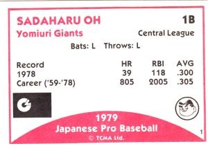 1979 TCMA Japanese Sadaharu Oh back