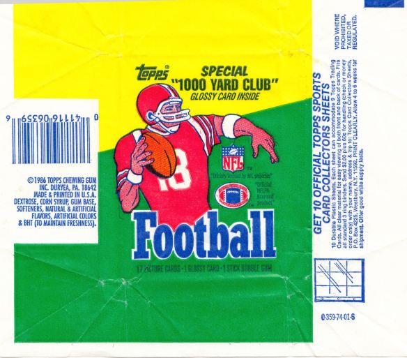 1986 Topps Football wrapper