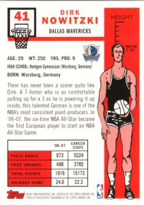 2007-08 Topps Basketball 50th Variation Dirk Nowitzki back