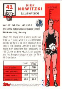 2007-08 Topps Basketball 50th Variation Dirk Nowitzki back
