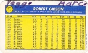 1970 Topps Super Bob Gibson back