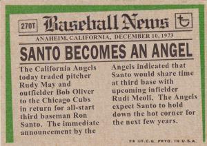 1974 Topps Alternate Universe Ron Santo back