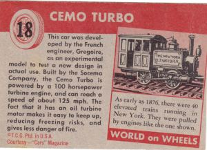 1954 Topps World On Wheels Cemo Turbo back